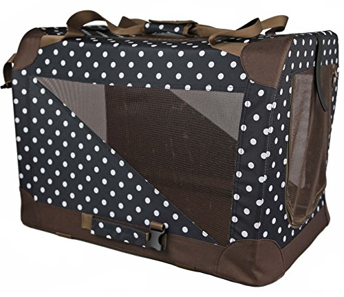 PET LIFE '360° Vista View' Zippered Soft Folding Collapsible Durable Metal Framed Pet Dog Crate House Carrier, X-Large, Polka Dot Navy AmazonPets Basic Carriers Crates Dog from Selection Supplies Top