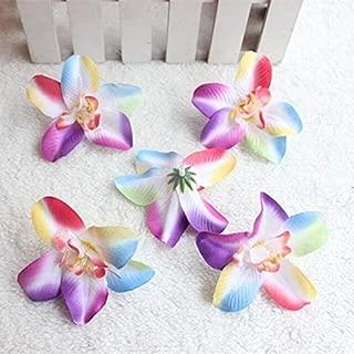 Decorations 7CM/50PCS Small Fabric Artificial Dendrobium Orchid Heads,Silk Orchids Arrangements,Flower Girl Hair Wreath,Wedding Decorations - (Color: Plum)