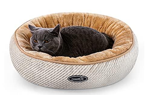 Pecute Cama de Gatos y Perros Pequeños Redonda y Cálida 50cm de Diámetro Cama para Mascotas Cojín de Gato Lavable de la Cama Lecho Ovalado de Cueva de Anidación Adecuado