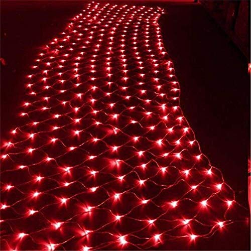 String Lights, Outdoor Lighting Holiday Decoration, Pink White Fairy Light String 3M X 2M, LLED Waterproof Light Net 11W White (Color : Red)