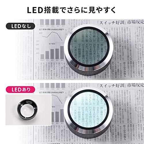 サンワダイレクト拡大鏡デスクルーペLEDライト付き5倍電池式収納ケース付きルーペ400-CAM013