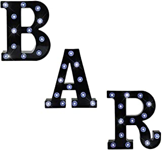 BAR - Illuminated Marquee Bar Sign - Lighted LED Marquee Word Sign - Pre-Lit Pub Bar Sign Light Battery Operated (23.03-in x 8.66-in) (Black BAR - Diamond Glow)