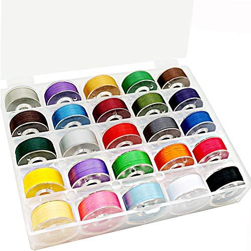 New brothread 25pcs Assorted Colors 70D/2 (60WT) Prewound Bobbin Thread Plastic Size A SA156 for...