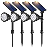 ROSHWEY Solar Spot Lights Outdoor, 18 LED Solar Landscape Lights Waterproof Spotlight for Garden Yard Patio Porch Wall Deck Garage (Cool White,4Pack)