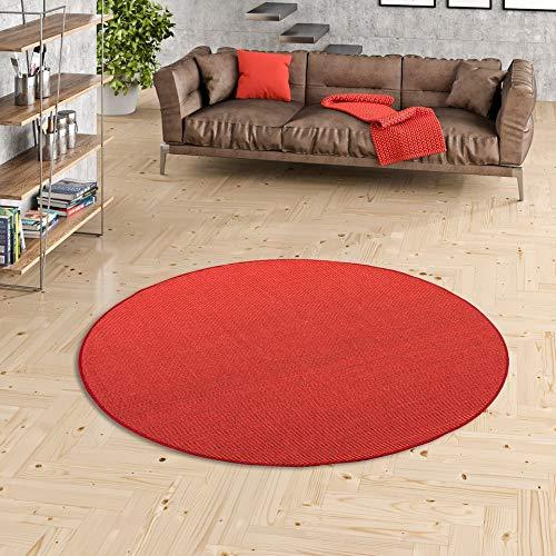 Snapstyle Astra - Alfombra de Sisal Natural - Rojo - Redonda Disponible en 4 tamaños
