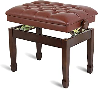 Gprice Regulowana wysokość ławka fortepianowa z litego drewna solo ze skórzaną poduszką, dostępne są proste nogi podkowa, ...