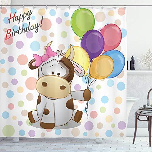 ABAKUHAUS Geburtstag Duschvorhang, Baby Kuh & Ballons, mit 12 Ringe Set Wasserdicht Stielvoll Modern Farbfest & Schimmel Resistent, 175x180 cm, Mehrfarbig