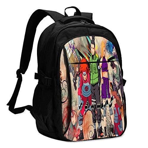Anime Naruto Zaino da viaggio per computer portatile con porta di ricarica USB Interfaccia per cuffie College Bookbag per donne uomini ragazzi Business Travel Anti Theft Backpack-8, A2, L