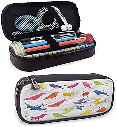 Birds Multicolor Silhouette Figuren Leder Federmäppchen Briefpapier Beutel Tasche Make-up Kosmetiktasche