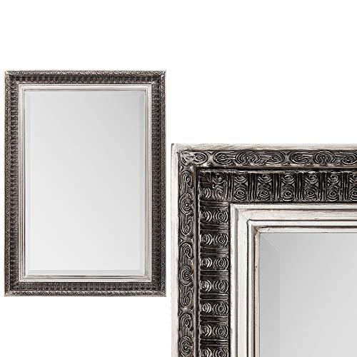 LEBENSwohnART Spiegel BESTY Antik Silber ca. 70x50cm Barock Vintage Wandspiegel Facette