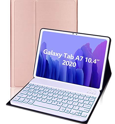 MeYuxg Funda Teclado Para Galaxy Tab A7 10.4' 2020 (SM-T500/T505/T507), Teclado Inalámbrico Desmontable Retroiluminado de 7 Colores,Teclado Fino y Ligero para Tab A7 (Rose Gold)