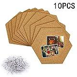 Wuudi 10pcs Sechseckige Korkplatte, Pinnwand Selbstklebende Kork Fliesen mit 40 Stück Pinnnadeln für Foto hängen, Heimdekoration und Büro Memorandum