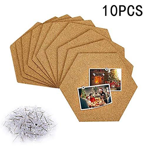 Wuudi Tablero de Corcho Autoadhesivo, Juego de tablones de anuncios hexagonales multifuncionales para Mostrar Mensajes Fotos Imágenes Aviso, 10 Piezas + 50 Piezas