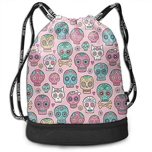 PmseK Turnbeutel Sportbeutel Kordelzug Rucksack, Sugar Skulls On Pink Multifunctional Bundle Backpack Shoulder Bag for Men and Women