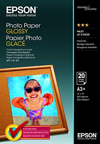 Epson Carta Fotografica Glossy, A3+, 20 Fogli, Bianco