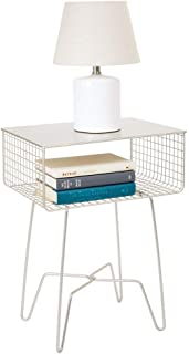 mDesign Modern Farmhouse Side/End Table - Solid Metal Design - Open Storage Shelf Basket, Hairpin Legs - Sturdy Vintage, Rustic, Industrial Home Decor Accent Furniture for Living Room, Bedroom - Satin