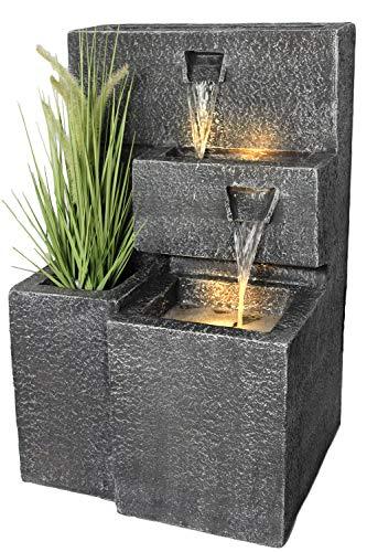 Arnusa Springbrunnen Grada Bepflanzbar mit LED Beleuchtung, Wasserfall Gartenbrunnen Kaskade Terrassenbrunnen