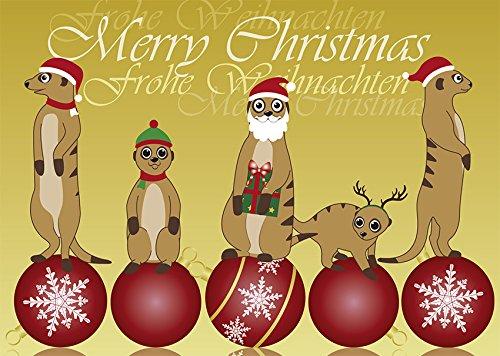 2 Postkarten Weihnachten - Erdmännchen auf Christbaumkugeln 1164-2