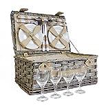 Deluxe, cestino da picnic per 4persone–ottima idea regalo per Natale, compleanno, matrimonio, anniversario
