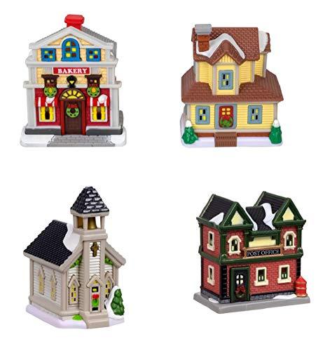 Cobblestone Corners Miniature Christmas Village - 4 Piece Collection Includes Church Bakery Farmhouse House Post Office Decorative Buildings