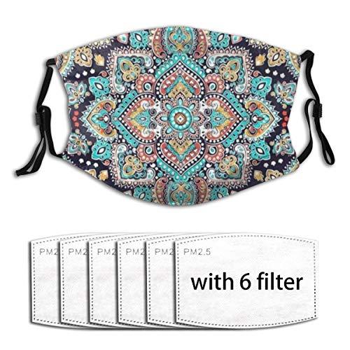 Unisex Gesichtsschutz mit Filter, atmungsaktiv und wiederverwendbar, indisches Blumenmuster, Mandala, Ornament, Henna, Tattoo-Stil, Stoffmaske, Sturmhaube, Bandana für Outdoor-Aktivitäten