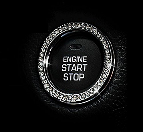 JessicaAlba New Car Interior One-Key Engine Start Stop Ignition Push Button Decorative Diamante Ring for Cars, Trucks, Jeeps, SUV, and More.