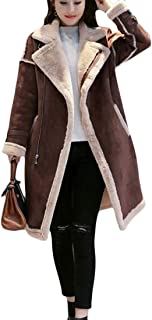 Macondoo Women Sherpa Lined Lapel Zip Faux Sueded Overcoat Winter Outwear