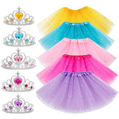 10Pcs Girls Princess Dress up Accessories Tutu Skirt Princess Tiara Crown Set Princess Party Decorations Gifts Party Favors Costume for Girls
