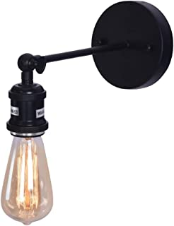 NOVO Light Indoor Sconce Wall Lamp Adjustable 1-Light Antique Retro with Exposed Bulbs E26 Base for Bedroom Black