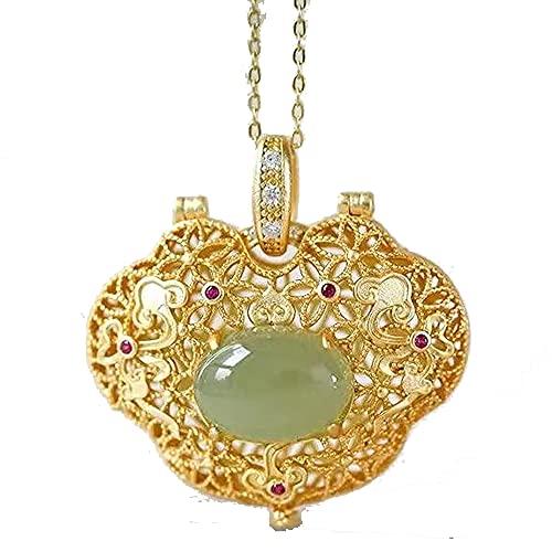 Natural Hetian Jasper geométrico abierto hueco colgante collar chino retro ligero lujo