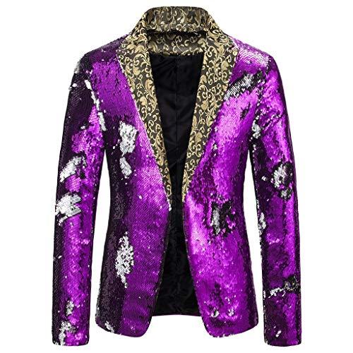 ZODOF Trajes para Hombres Negocio Blazer Chaqueta Trajes Hombre Vestir Slim Fit Chaqueta(Púrpura,L)