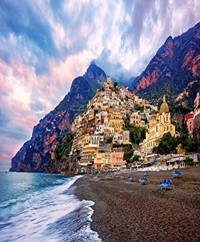 Menmek Poster Wall Art Print Family Party Decoration Cliffside Houses Positano Town Amalfi Coast Italy Naples Sorrento Artwork Decor Living Room Bedroom Study Room Great Gift 18x24 Inch
