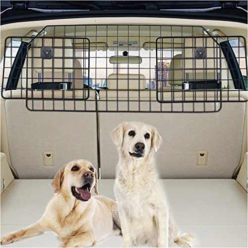 Dog Car Barrier for SUV, Vehicles Pet Divider Gate for Trunk Cargo Area - Extendable for Universal Fit, Straps & Bungee Cords for Double Stability, Rust-Proof Metal Mesh