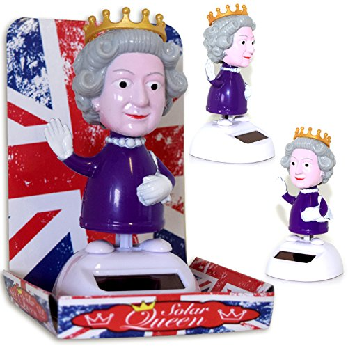 Di-Nesh (779) Solar Wackelfigur Queen Wackel England Königin UK Fun Fensterbank