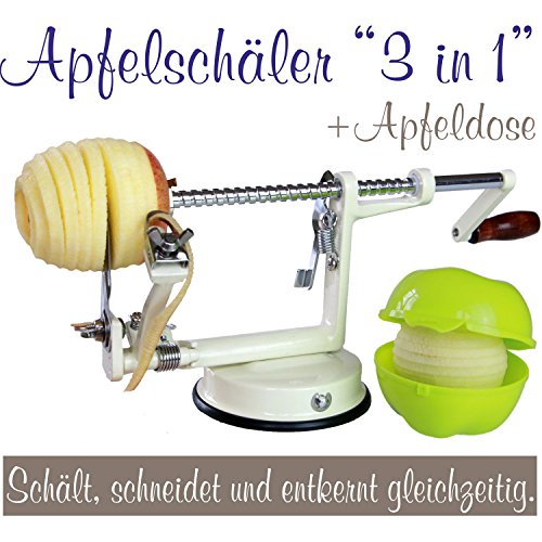 Made for us - Profi Alu- Apfelschäler Apfelschneider Apfelentkerner Schälmaschine in Cremeweiß