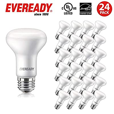 EVEREADY Led Flood Light Bulbs, BR20, 50 Watts Equivalent (7W Led Bulb), 525 Lumen, 5000K Daylight Color, Dimmable, E26 Base Flood Lights for Recessed Cans, Energy Star and UL Certified – 24 Pack