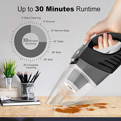 JackMo Handheld Vacuum, Hand held Vacuum Cordless with Powerful Suction, Light Weight Portable Vacuum Cleaner for Home/Car, Black Wet Dry Hand Vac