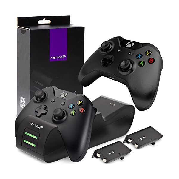 Fosmon Dual Controller Charger Compatible with Xbox One/One X/One S Elite Controllers, (Two Slot) High Speed Docking Charging Station Kit with 2 Rechargeable Battery Packs – Black