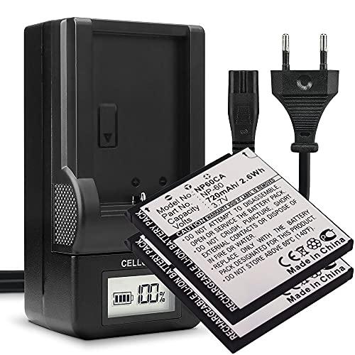 subtel® 2X Batería de Repuesto NP-60 per Casio Exilim EX-S10, S12, EX-Z80, Z85, EX-Z90, EX-FS10, EX-Z19, EX-Z20, 600mAh + Cargador BC-60L, Accu Sustitución Camara, Battery