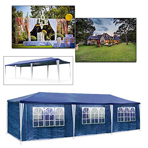 Huigou 3 x 9m Waterproof Tent Gazebo Made from polyethylene, with Steel Pipes, 6 Removable Side Panels and 2 entrances