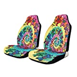 NA-1 Tie Dye Spiral Grate-ful Dead Dancing Bear Car Seat Cover Protector Cushion Premium Covers for Women, Men, Girls, Boys Fits Most Cars, Truck, SUV Or Van