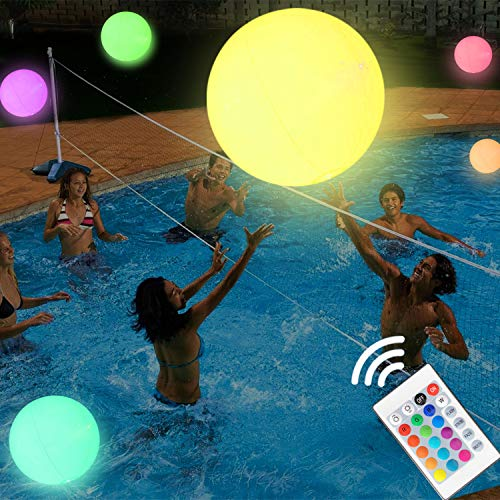 LED Beach Ball 16'' Pool Toy with Remote Control, 16 Colors Lights and 4 Light Modes, Outdoor Pool Beach Party Games for Kids Adults, Glow in Dark Home Patio Garden Party Decorations