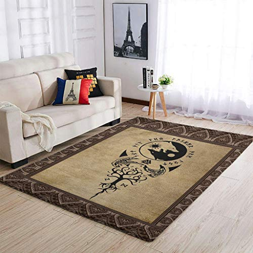 BTJC88 Alfombra de cuidado fácil, estilo vikingo, diseño de lobo, tradicional, suave, para dormitorio, cama, color blanco, 50 x 80 cm