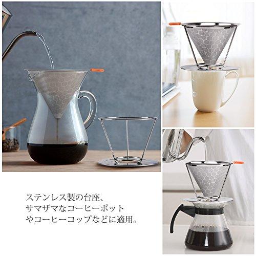 E-PRANCE コーヒードリッパー ステンレスフィルター 蜂窩状 2層メッシュ ペーパーフィルター不要 1~4杯用 シルバー