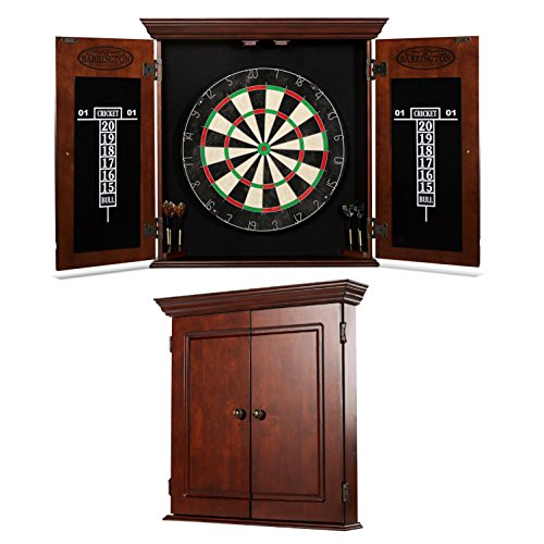 BARRINGTON Bristle Dartboard Cabinet Set: Professional Hanging Classic Sisal Dartboard with Self...