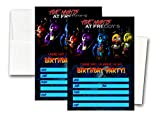 12 FIVE NIGHTS AT FREDDY'S Birthday Invitation Cards (12 White Envelops Included)