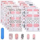 MWOOT Smalto Adesivo per Unghie, 12 Fogli Adesivo Unghie Nail Art, Decalcomanie Autoadesive per Unghie - Pink Glitter Styles Nail Wraps Sticker