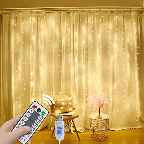 String Lights Curtain,8 Modes Waterproof Curtain Lights with Remote Control, USB Fairy Lights Plug in Perfect for Wedding Bedroom Party Home Halloween Decorations,(Warm White,7.9Ft x 5.9Ft)