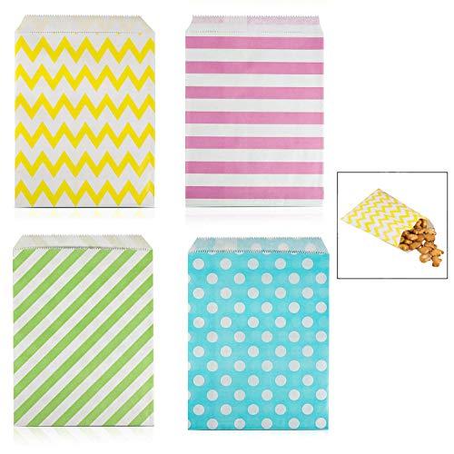 iwobi Candy Bar zakjes, 100 stuks papieren zakken, snoepzakjes, snoepzakjes, snoepzakjes, 4 verschillende designs