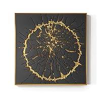 キャンバス絵画ファッションスクエアバーストサークルブラックとゴールドのポスタープリントウォールアート写真リビングルームダイニングルームの装飾-60x60cmフレームなし